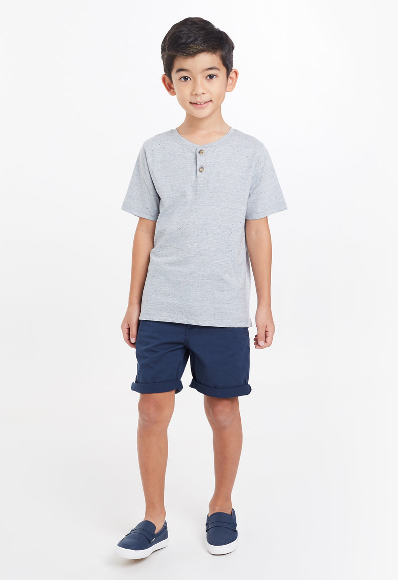 Gen Woo Boys Grey with Navy Slubs Henley T-shirt for The Jersey Shop Singapore