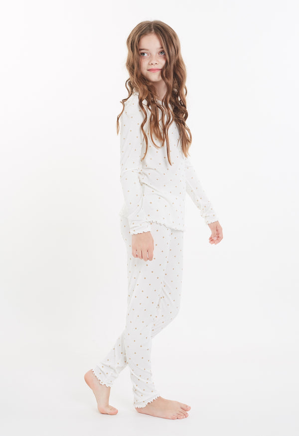 Gen Woo Nightwear Girls White with Glitter Spots PJ Set from The Jersey Shop Singapore