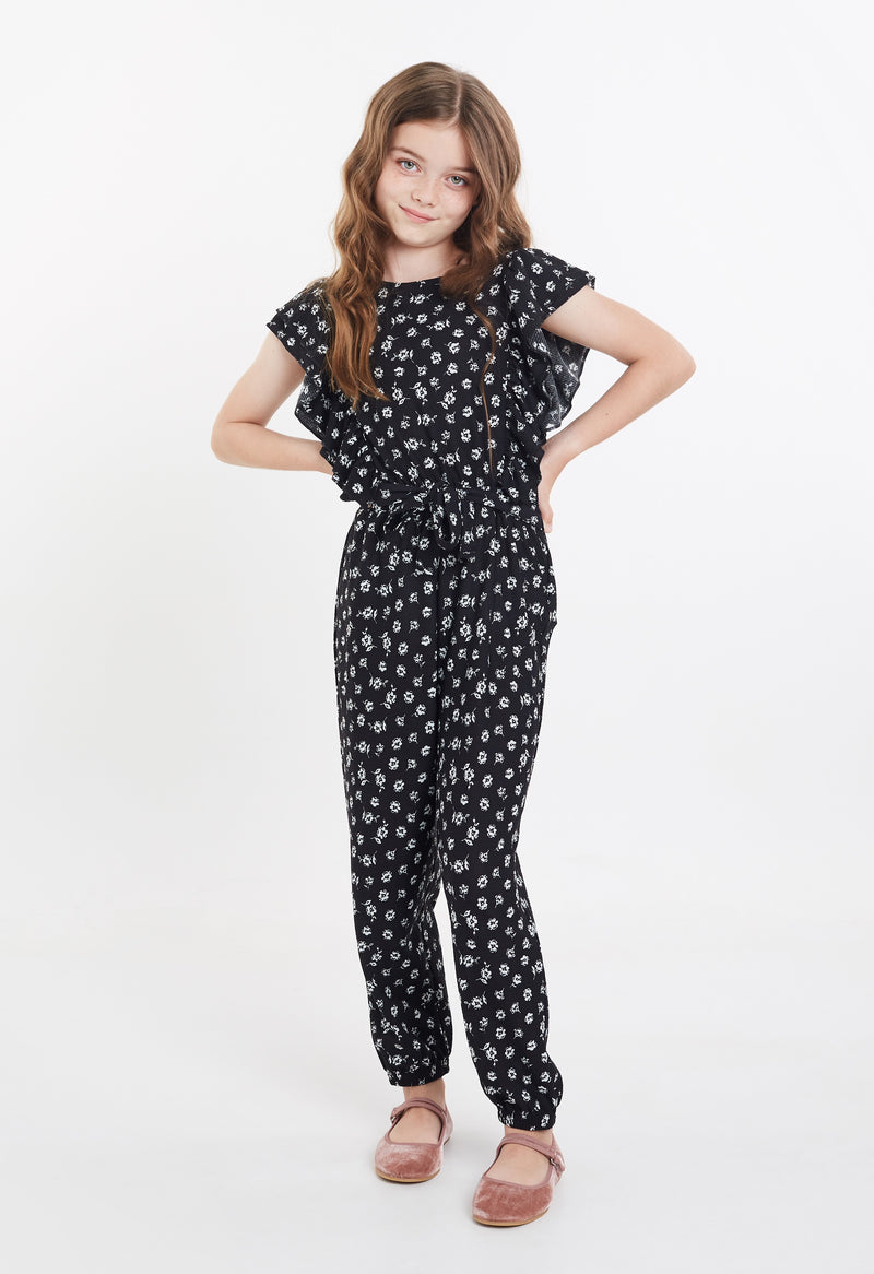 Gen Woo Tween Girls Ditsy Print Flutter Jumpsuit for The Jersey Shop Singapore