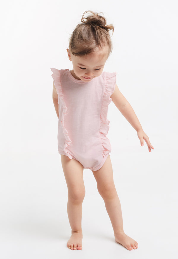 Gen Woo Baby Girls Pink Flutter Baby-grow for The Jersey Shop Singapore