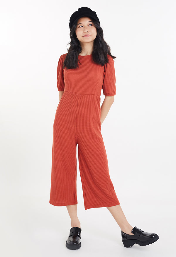 Gen Woo Tween Girls Autumn Waffle Jumpsuit from The Jersey Shop Singapore