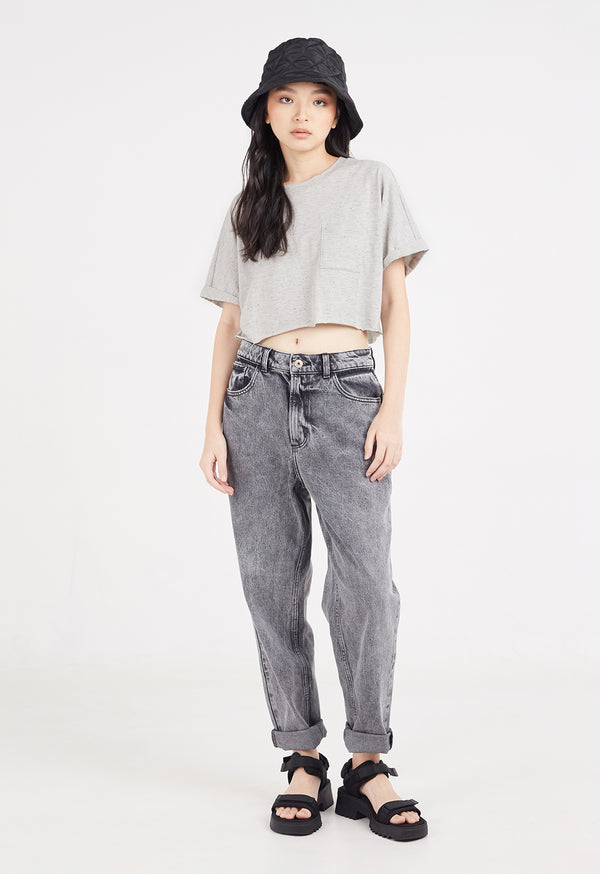 Ladies Grey marl, cropped t-shirt, front view by Gen Woo