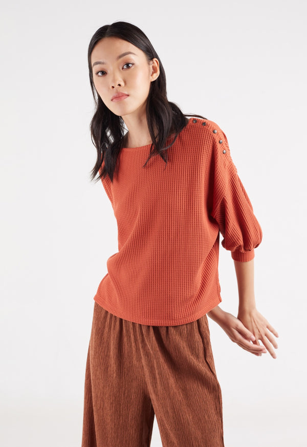 Autumn waffle ladies top by Gen Woo