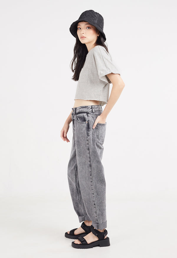 Ladies Grey marl, cropped t-shirt, side view by Gen Woo