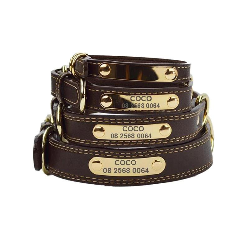 Personalised Engraved Leather Dog Collar