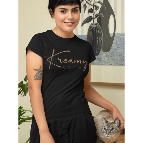 Black T-Shirt, Black Crew neck T-shirt, Black Kreamy Couture T-shirt