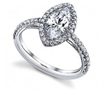 1.25 CT. Marquise French Pave Diamond Ring in White Gold - White Carat Diamonds