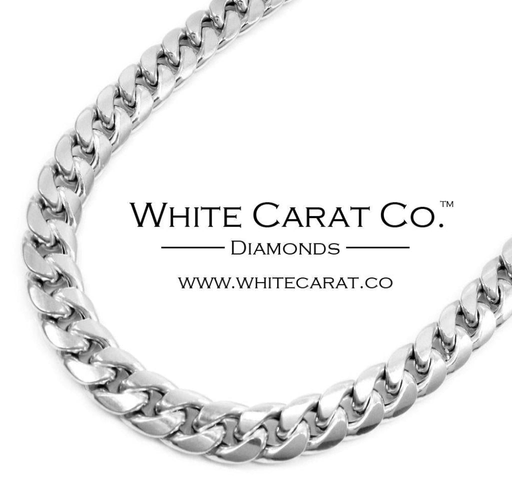 10K White Gold Semi-Solid Miami Cuban Chain - 8mm - White Carat Diamonds