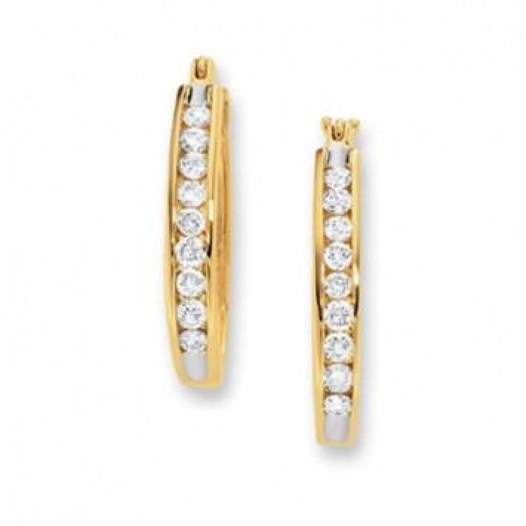 1.00 CT. Diamond Channel Set Hoop Earrings in 14K Gold - White Carat Diamonds