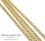 10K Gold Puffed Mariner Link Chain - 2.0 mm - White Carat - USA & Canada