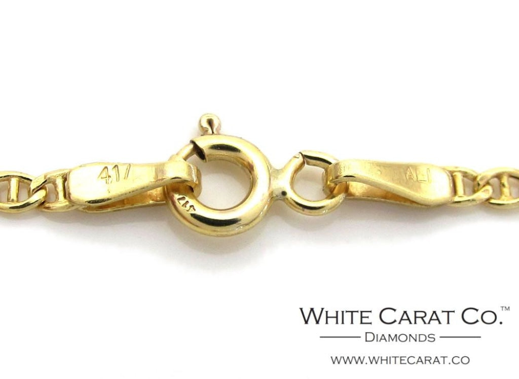 10K Gold Puffed Mariner Link Chain - 2.0 mm - White Carat Diamonds