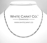 10K Solid White Gold Figaro Chain - 2.5 mm - White Carat Diamonds