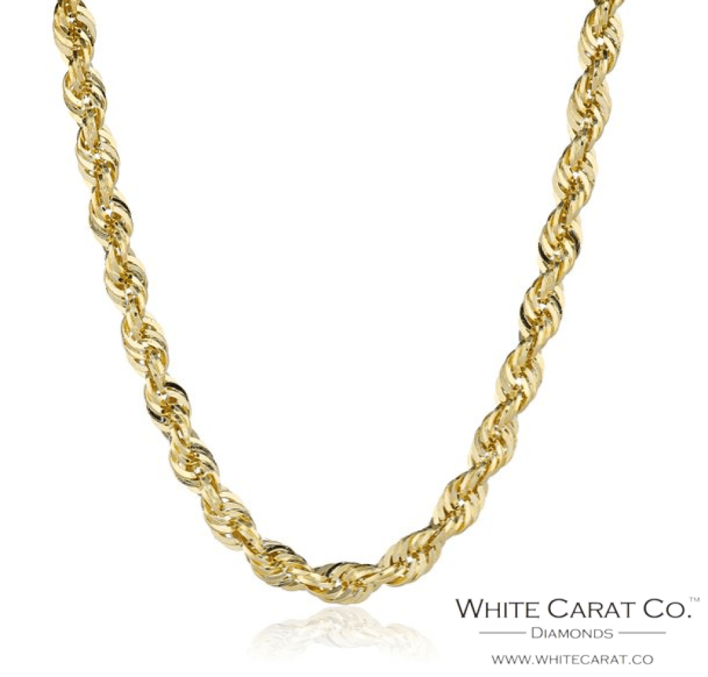 14K Semi-Solid Gold Rope Chain - 2.5 mm - White Carat Diamonds