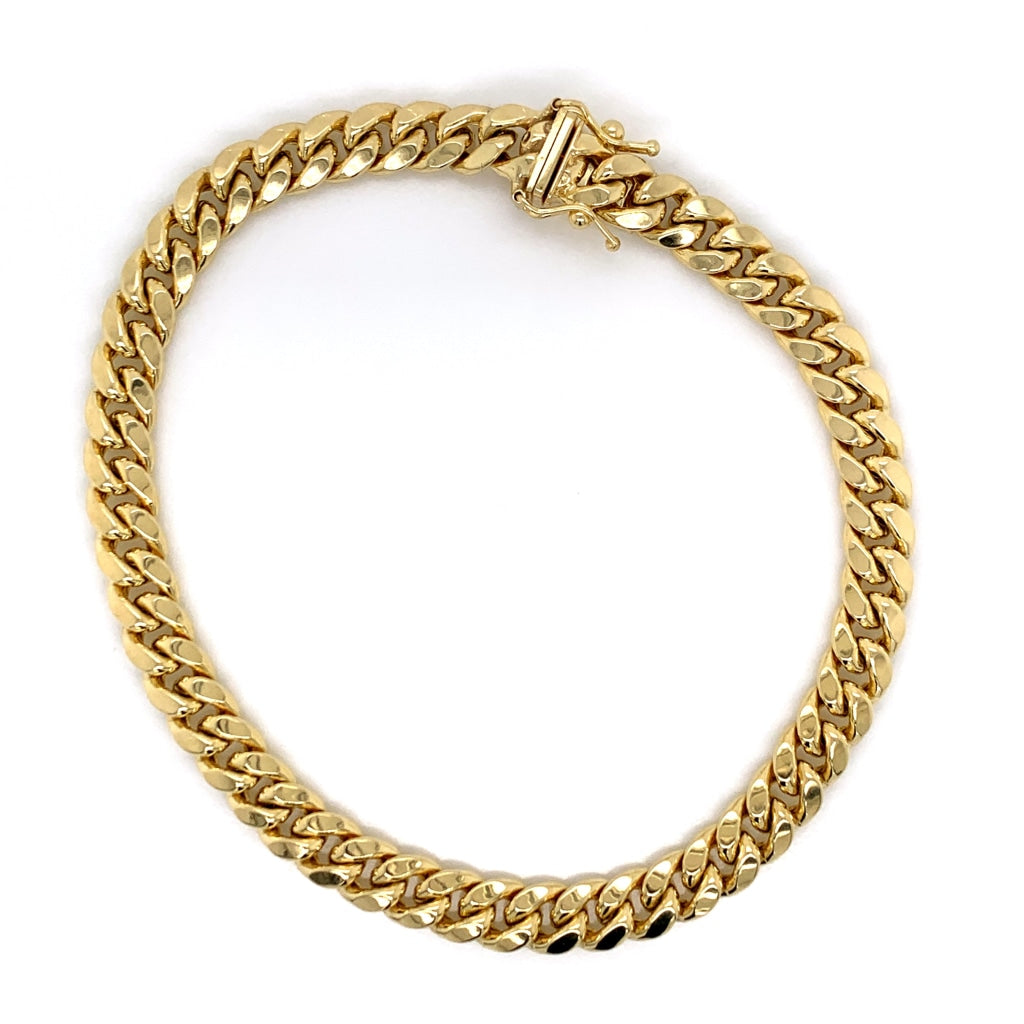 10K Solid Gold Miami Cuban Bracelet - 6MM - White Carat Diamonds