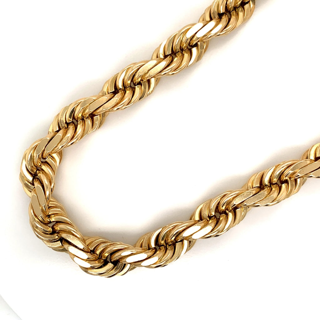 14K Gold Rope Chain (Regular)- 10mm - White Carat Diamonds