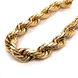 14K Solid Gold Rope Chain - 6.5mm - White Carat Diamonds