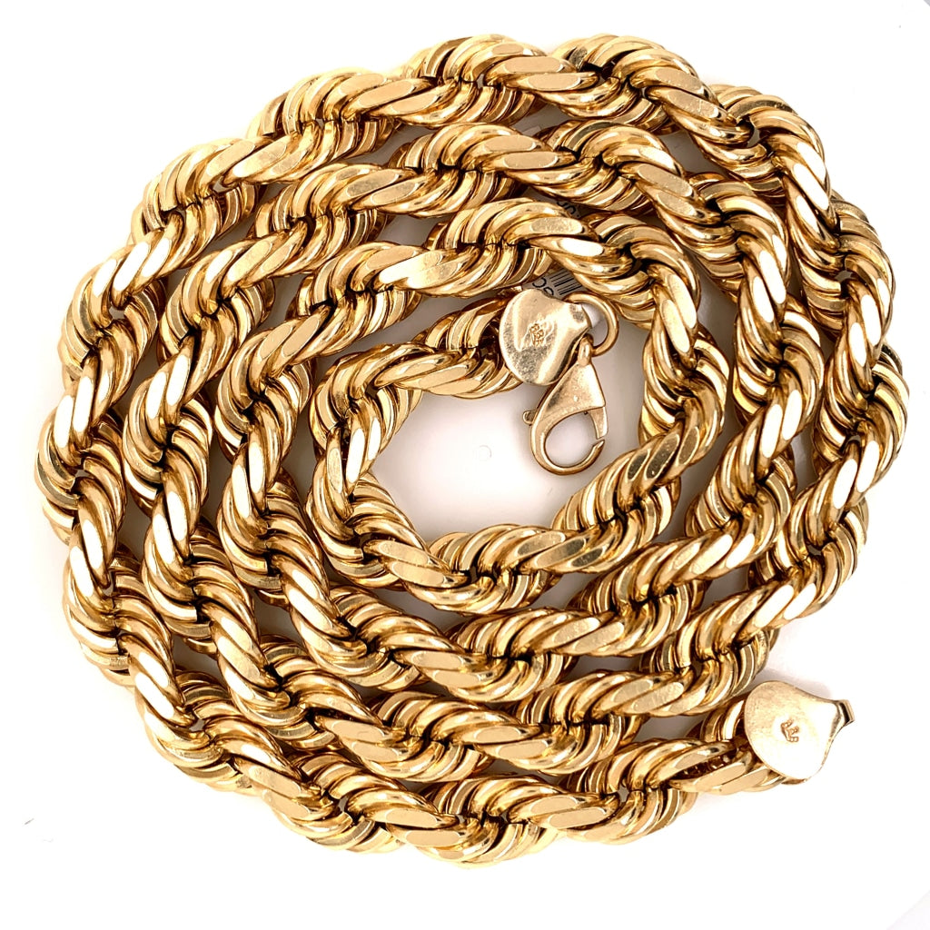 10K Solid Gold Rope Chain - 12mm - White Carat Diamonds