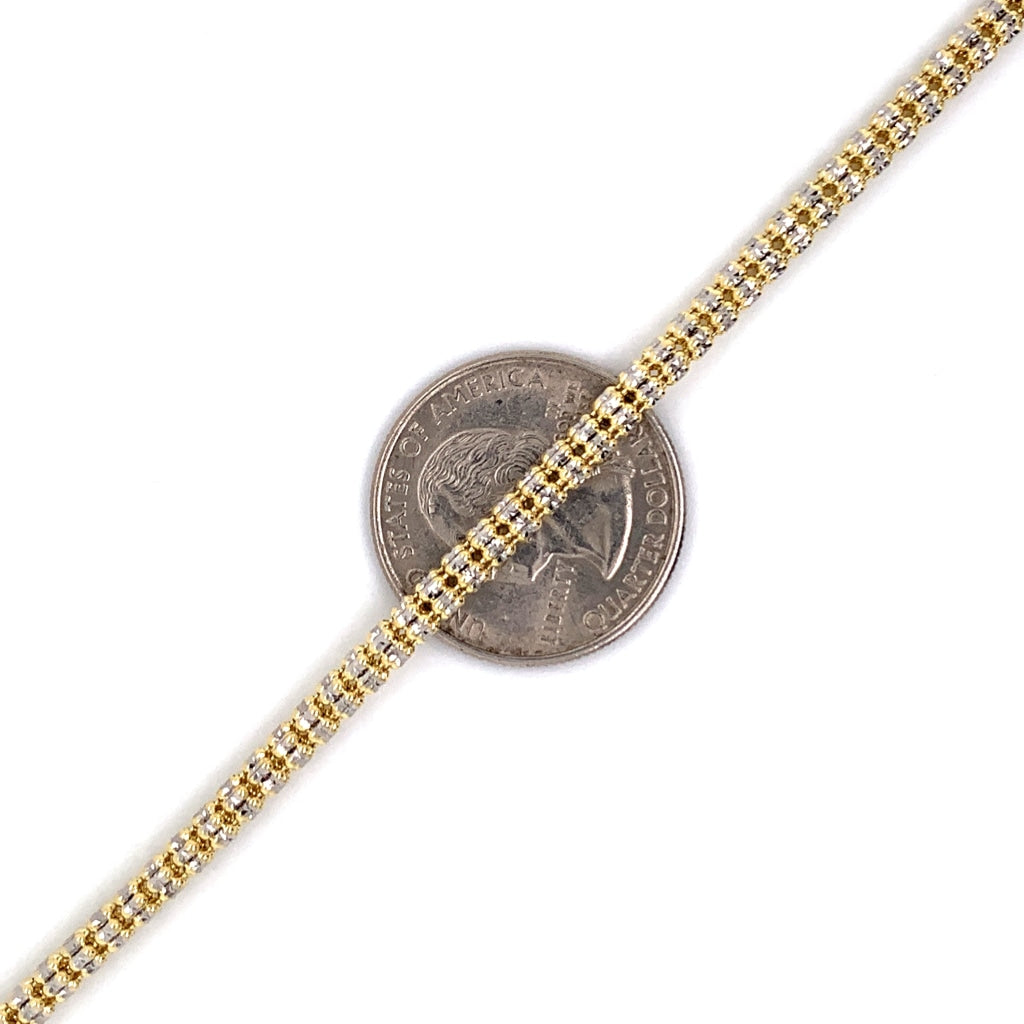 10K Gold Millennium Chain w/ Diamond Cuts - 3.5mm - White Carat Diamonds