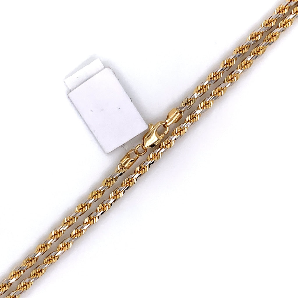 10K Solid Gold Diamond Cut Rope Chain - 1mm - White Carat Diamonds