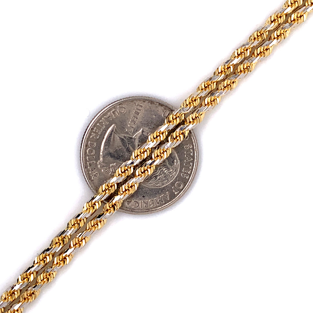 10K Gold Diamond Cut Rope Chain - 3mm - White Carat Diamonds