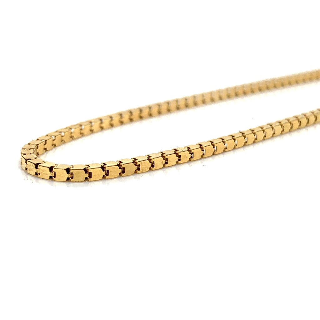 18K Gold Semi-Solid Box Chain - 1.5mm - White Carat Diamonds