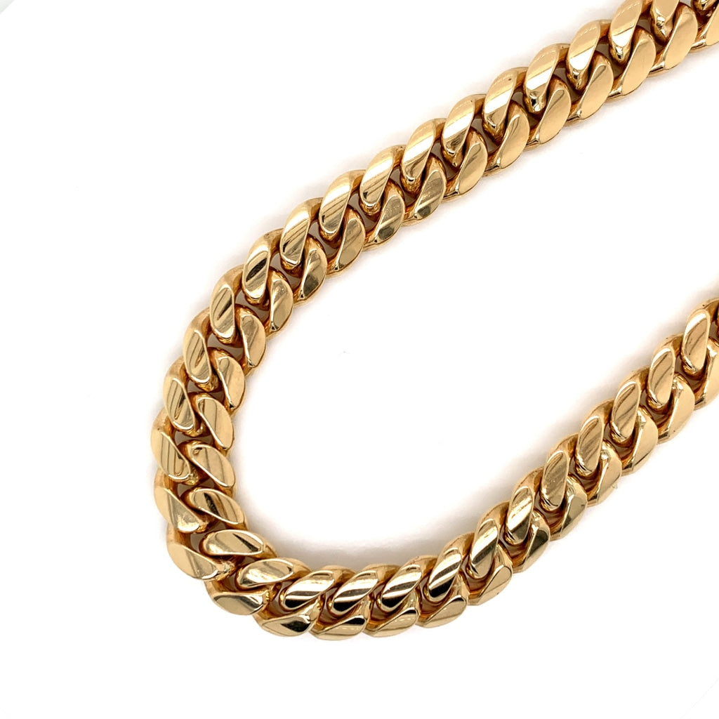 10K Solid Gold Miami Cuban Chain - 11.5mm - White Carat Diamonds