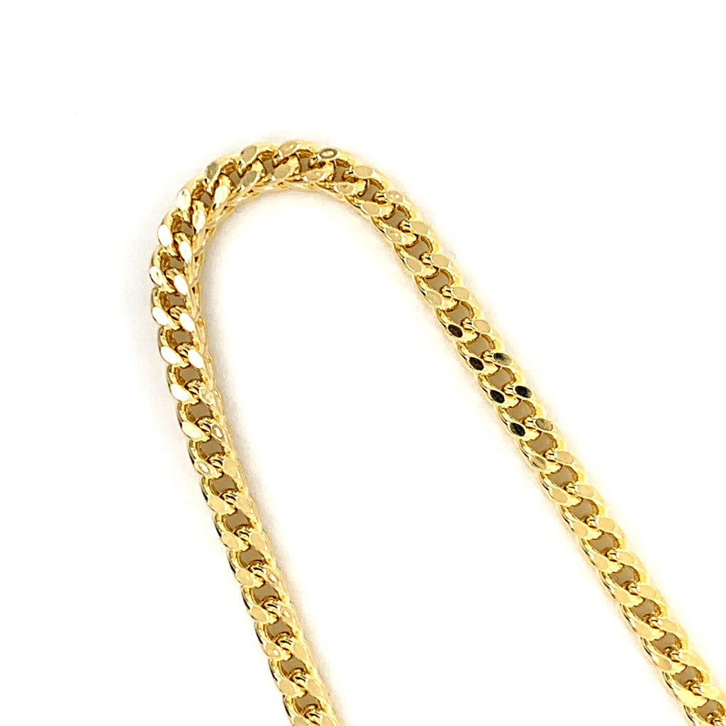 14K Gold Semi-Solid Franco Chain - 4mm - White Carat Diamonds