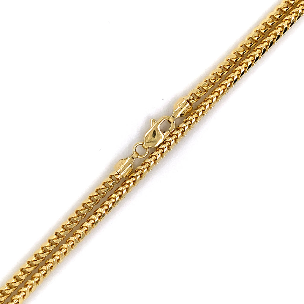 14K Gold Solid Rounded Franco Chain - 2mm - White Carat Diamonds