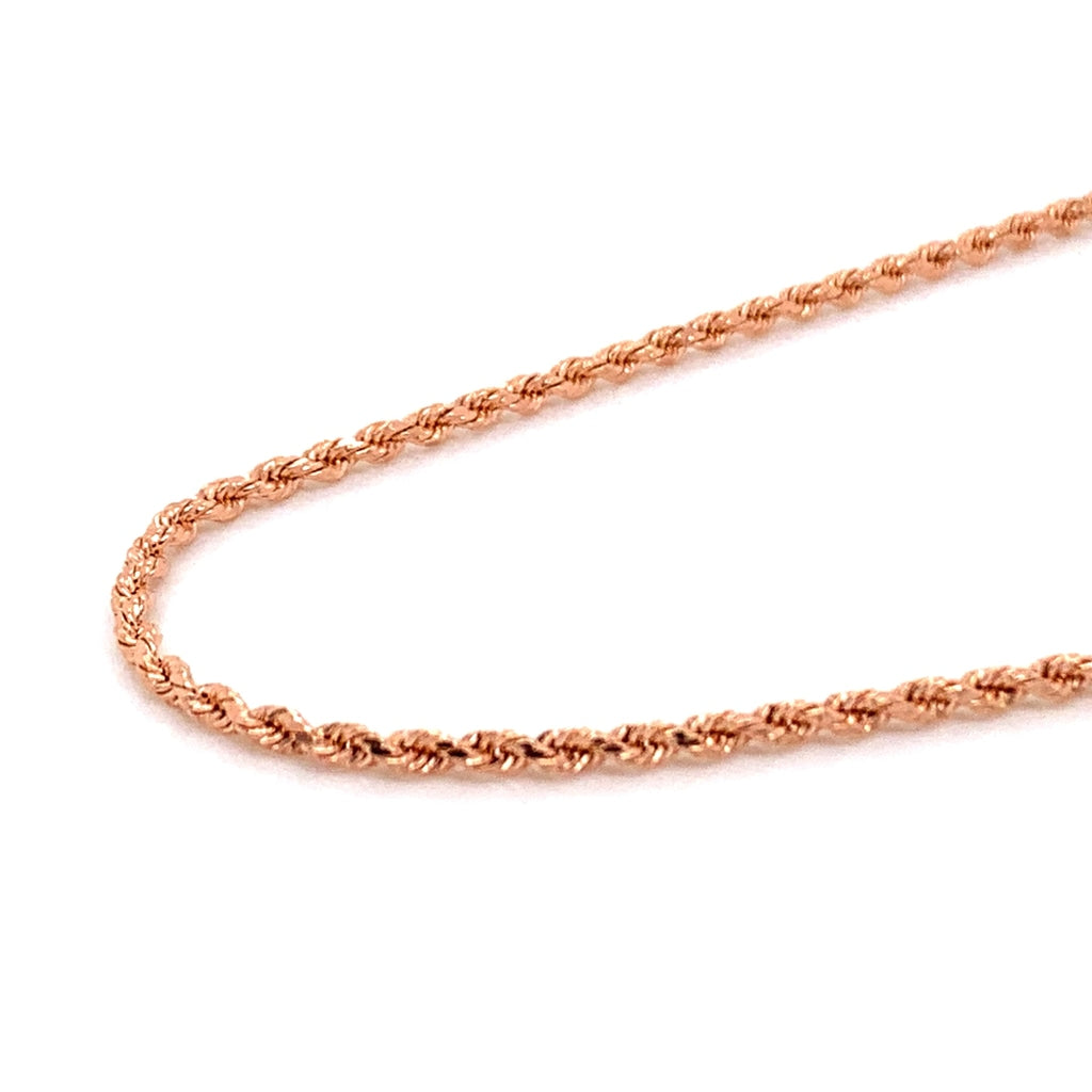 14K Rose Gold Solid Rope Chain - 1.6mm - White Carat Diamonds