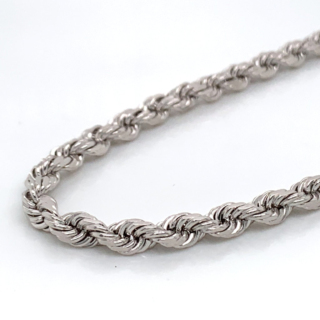 14K White Gold Solid Rope Chain - 4mm - White Carat Diamonds