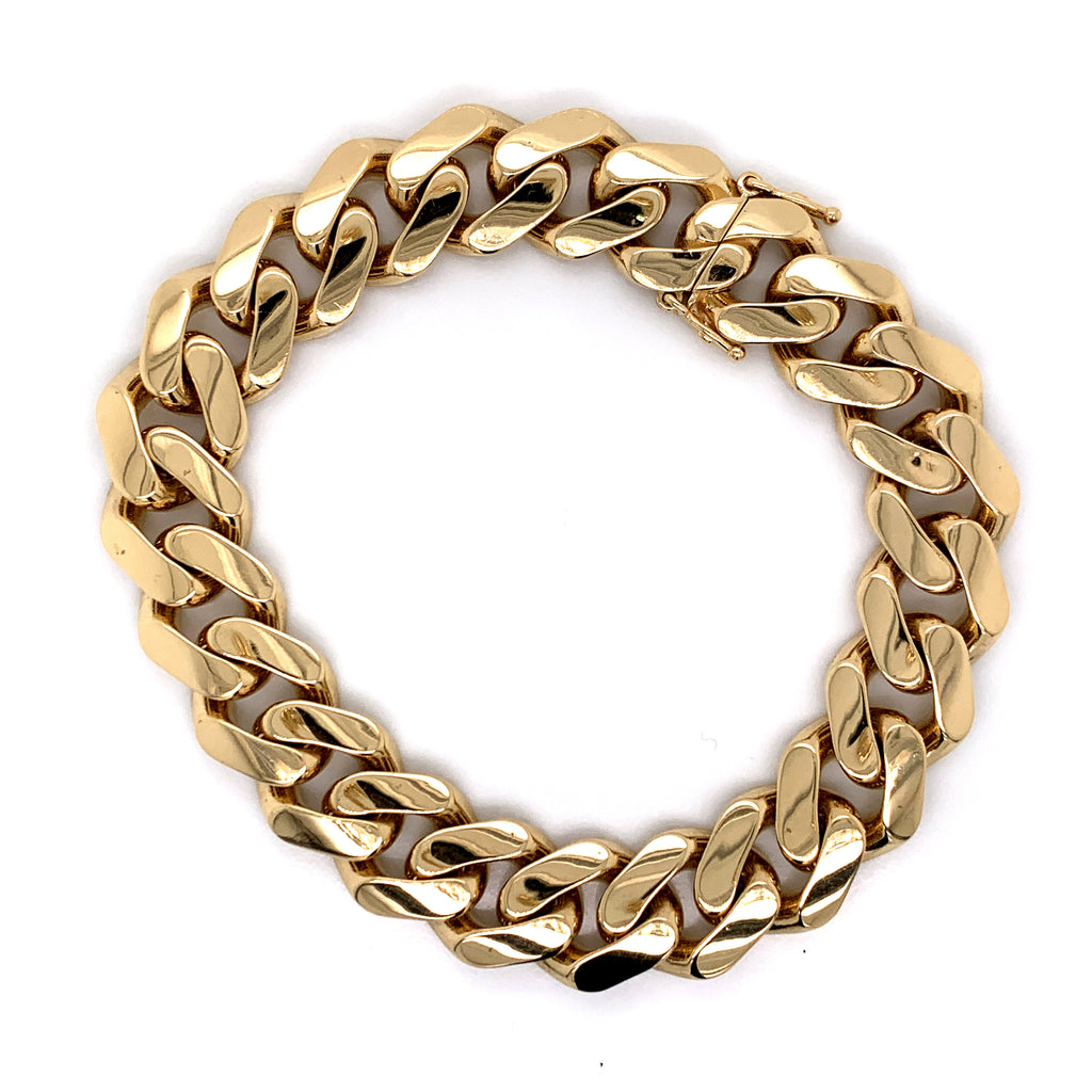 14K Semi-Solid Gold Miami Cuban Bracelet -13.5MM | Ships Overnight - White Carat Diamonds