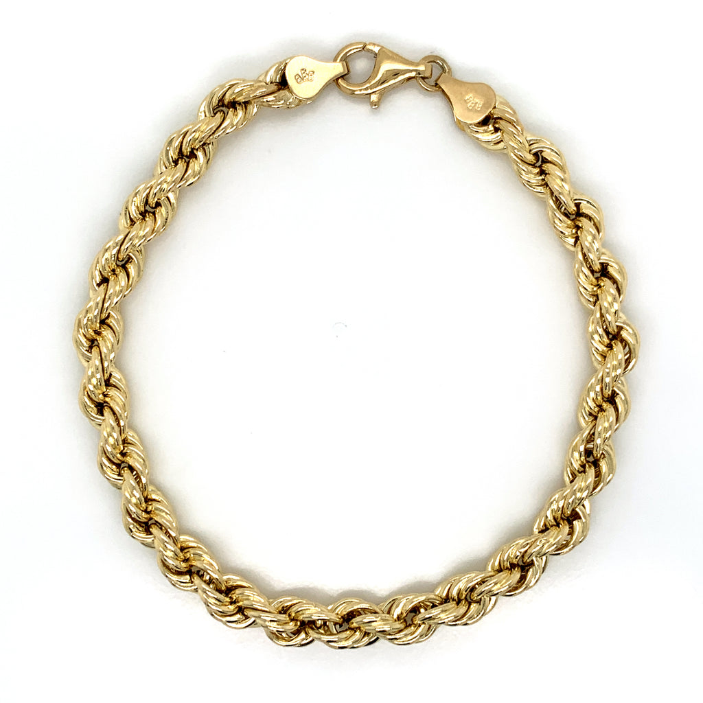 10K Gold Rope Bracelet (Regular)-10MM - White Carat Diamonds