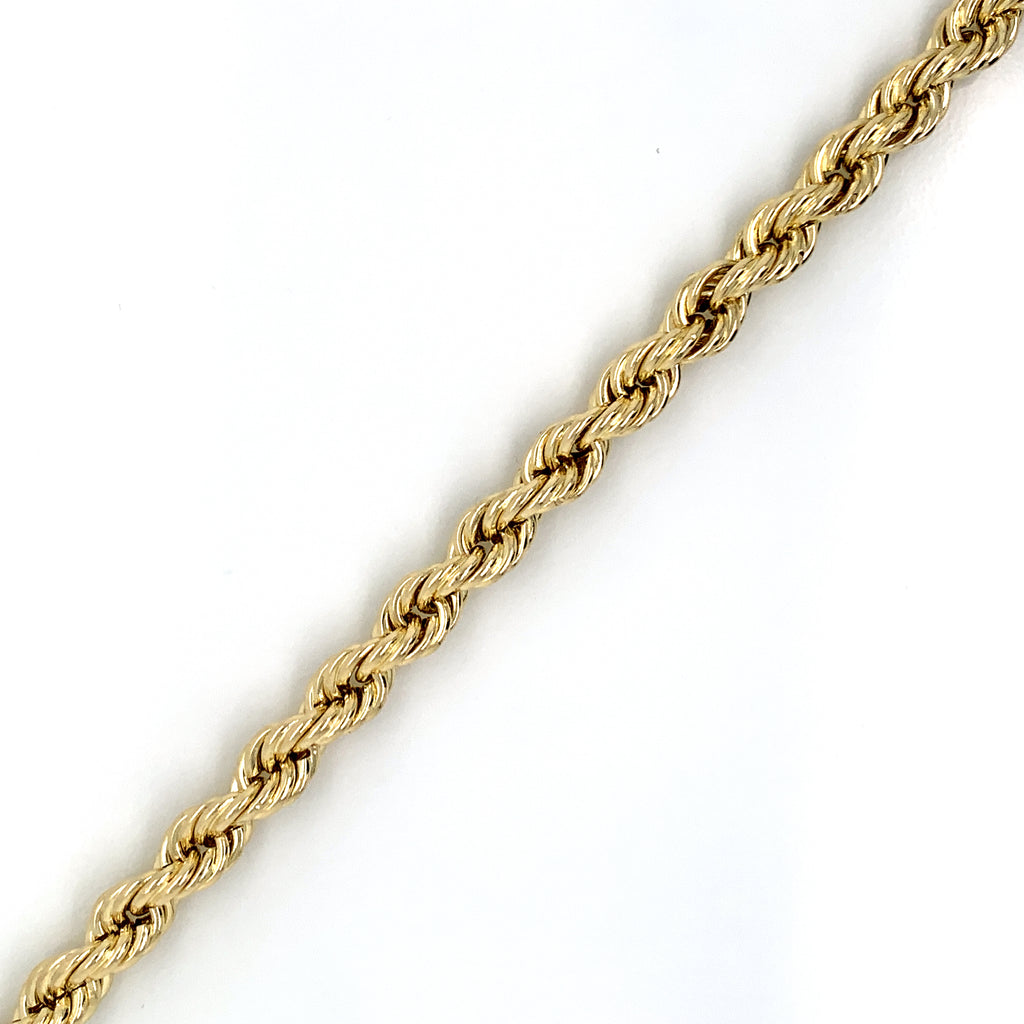 10K Gold Rope Bracelet (Regular)-6.5MM - White Carat Diamonds