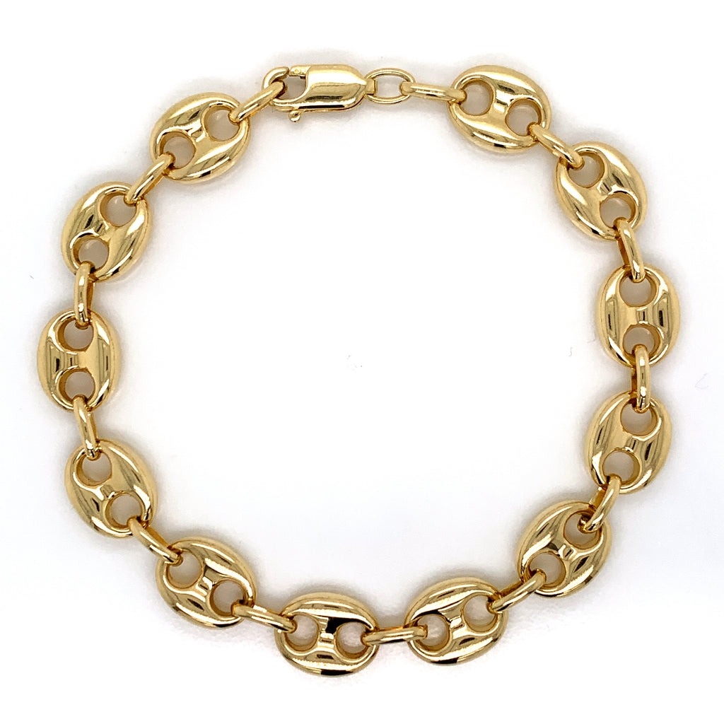 10K Gold Puffed Mariner Bracelet (Regular)-12MM - White Carat Diamonds