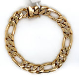 14K Solid Gold Figaro Bracelet - 10MM - White Carat Diamonds