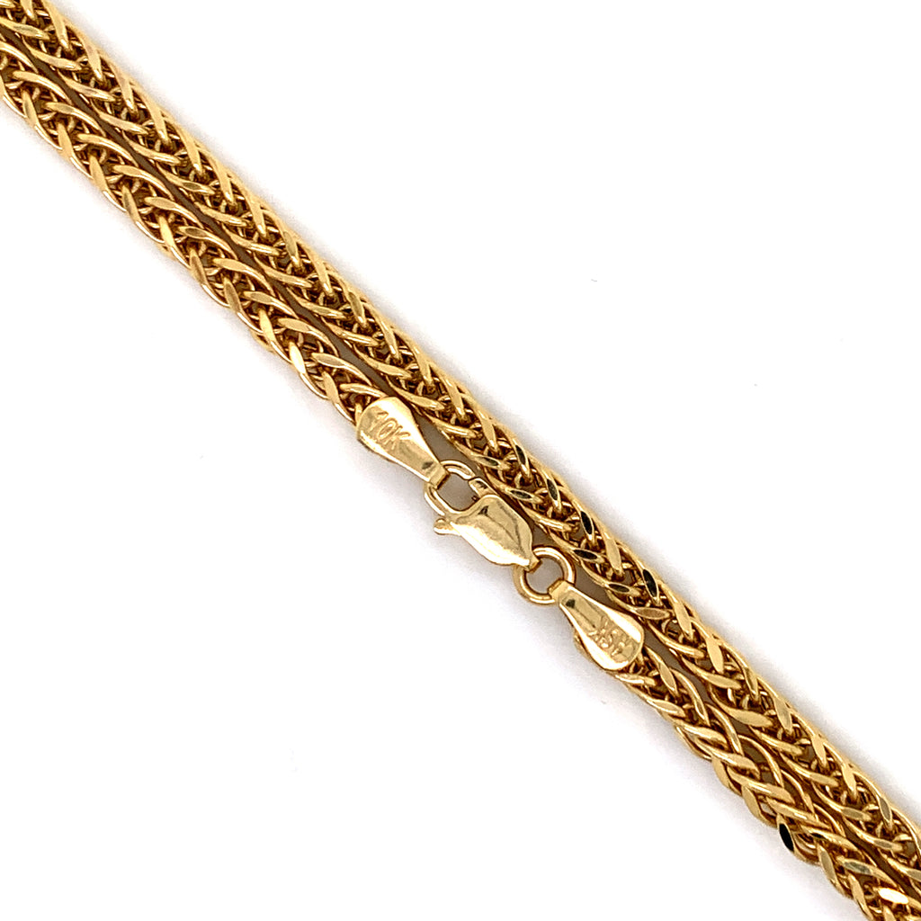 10K Gold Semi-Solid Franco Chain - 4mm - White Carat Diamonds