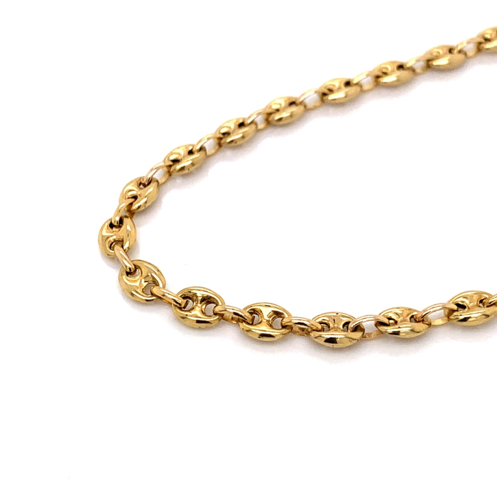 10K Gold Semi-Solid Puff Mariner Link Chain - 5mm - White Carat Diamonds