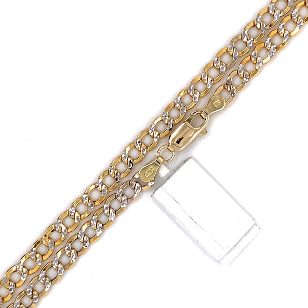 10K Gold Semi-Solid Diamond Cut Cuban Chain - 4mm - White Carat Diamonds