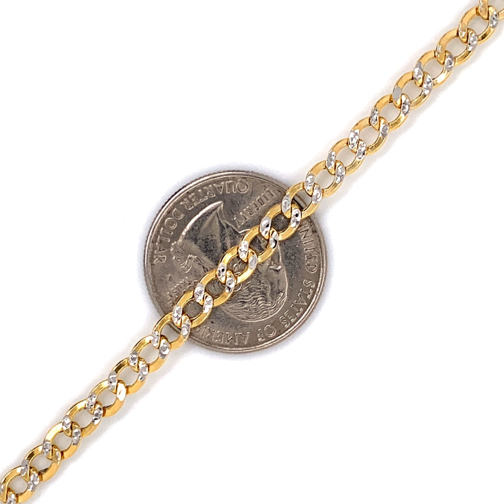 10K Gold Semi-Solid Diamond Cut Cuban Chain - 5.5mm - White Carat Diamonds