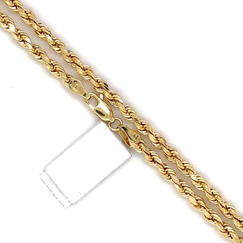 10K Gold Rope Chain (Regular)- 4mm - White Carat Diamonds