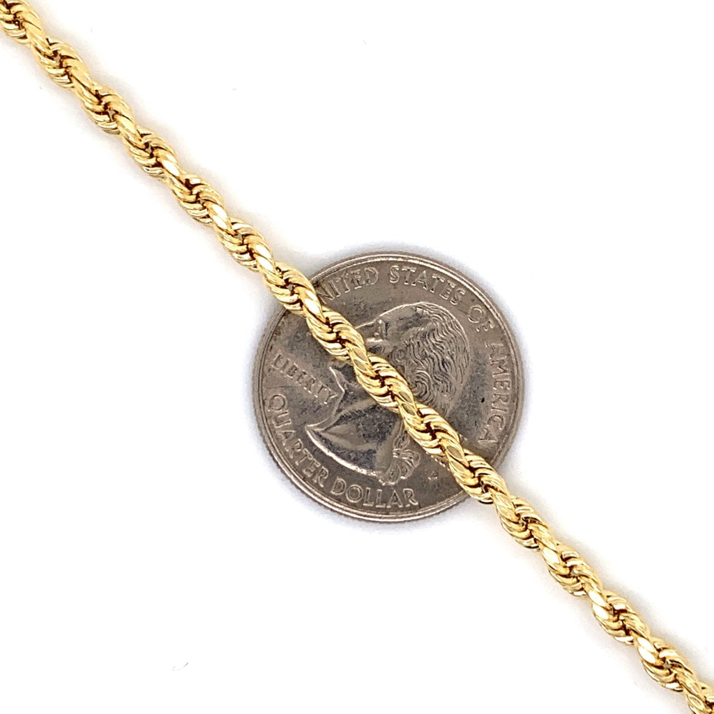 10K Gold Rope Chain (Regular)- 3mm - White Carat - USA & Canada