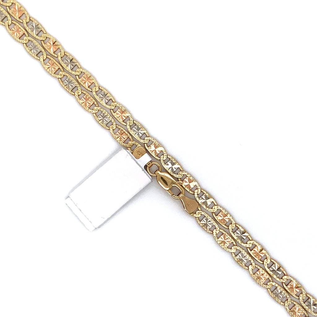 10K Gold Two-Tone Mariner Link Chain - 1mm - White Carat Diamonds