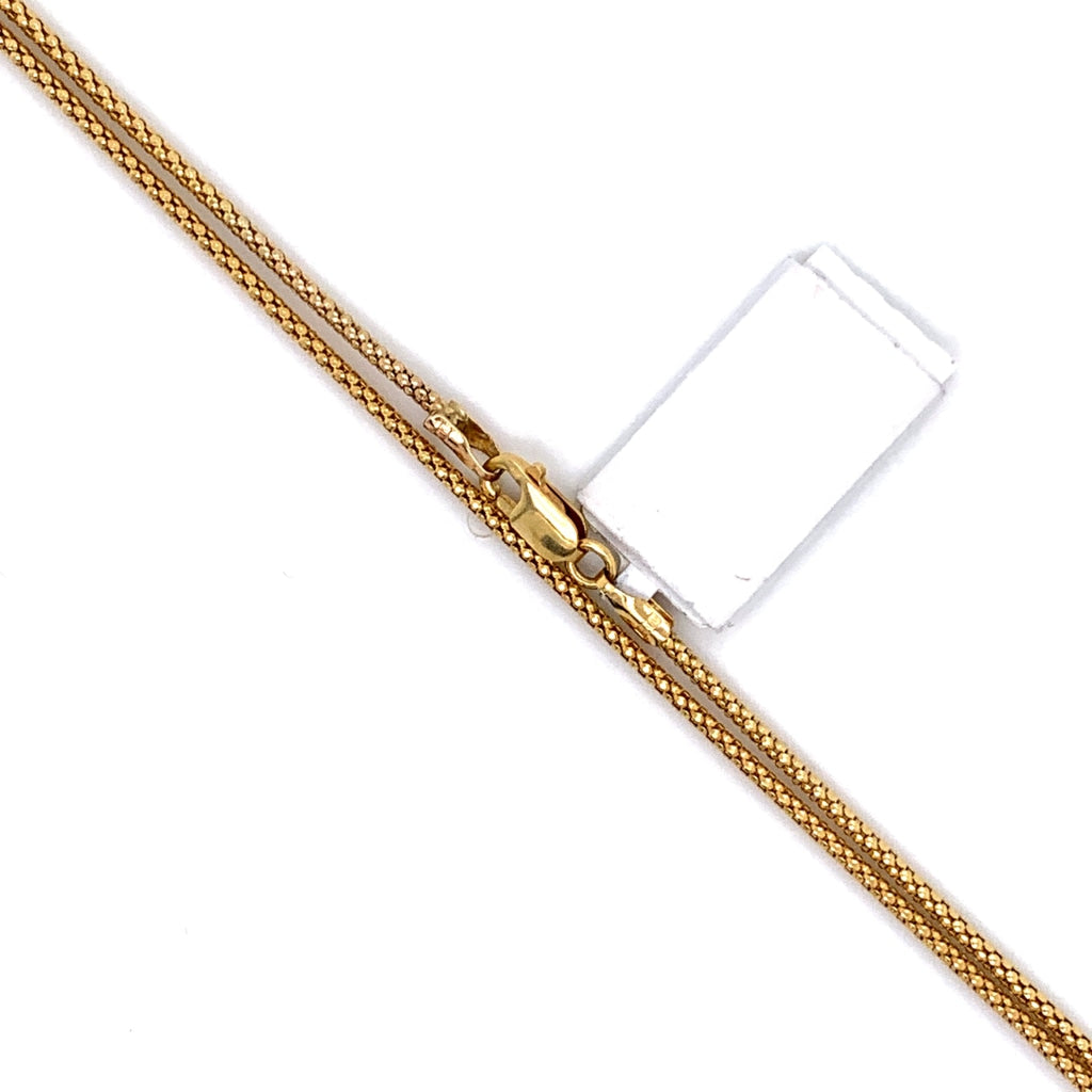 10K Gold Semi-Solid Tower Chain - 2mm - White Carat Diamonds