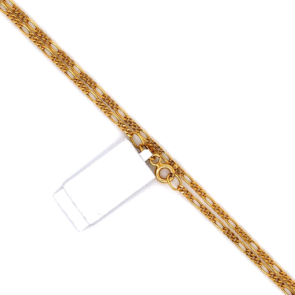 18K Gold Semi-Solid Figaro Chain - 2mm - White Carat Diamonds