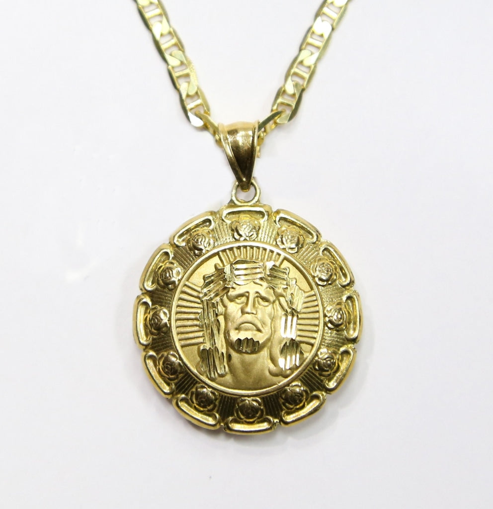 COMBO: 10K Gold Jesus & Mary Puffed Medallion Pendant & 22 Inch 10K Gold Mariner Chain - White Carat - USA & Canada