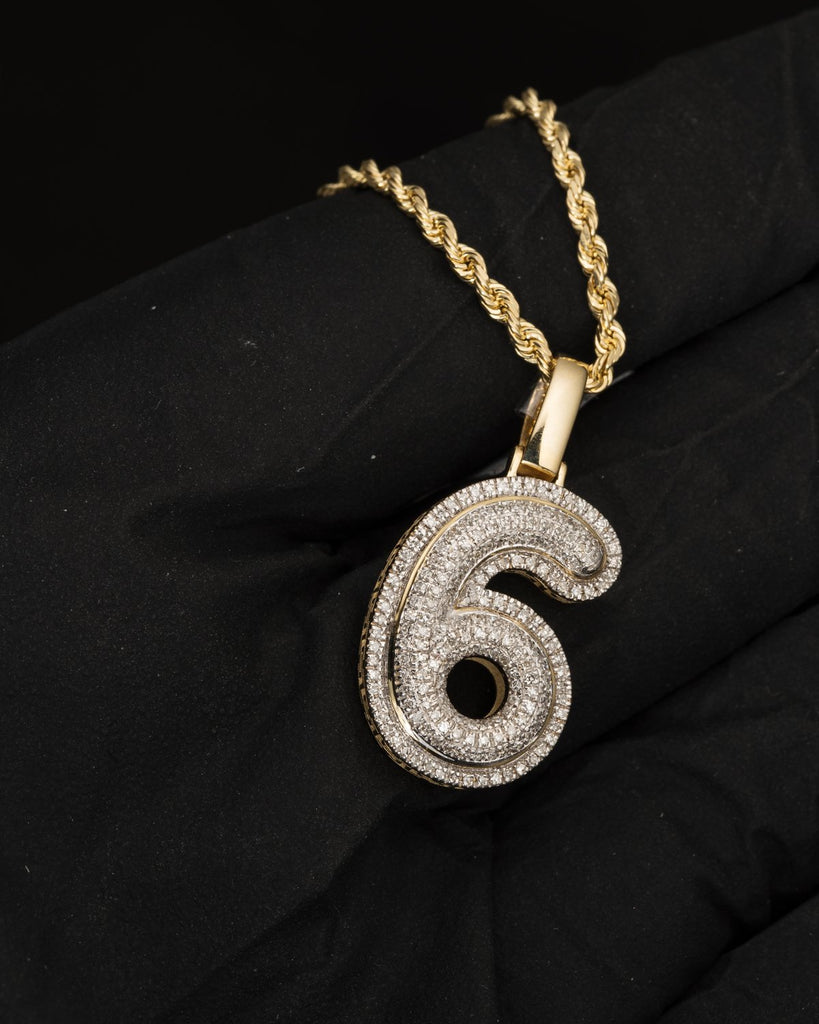 "0.37 CT. Number ""6"" Diamond Pendant in 10K Gold"