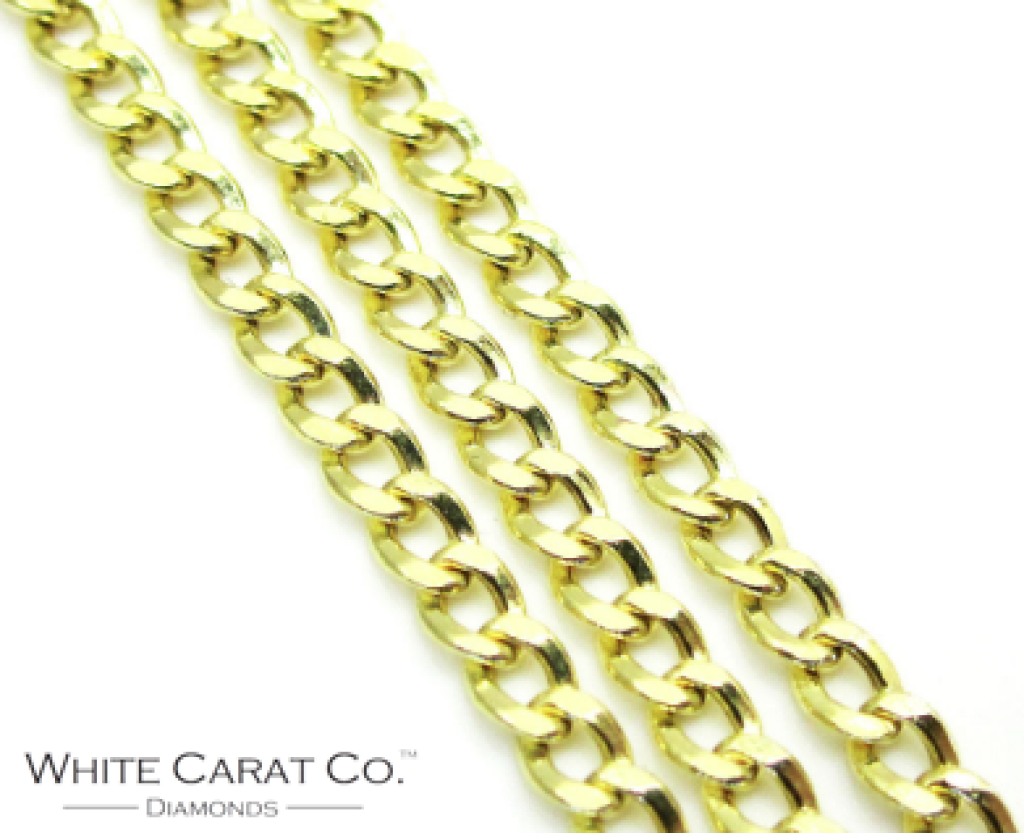 14K Gold Curb/Cuban Link Chain - 7mm - White Carat Diamonds