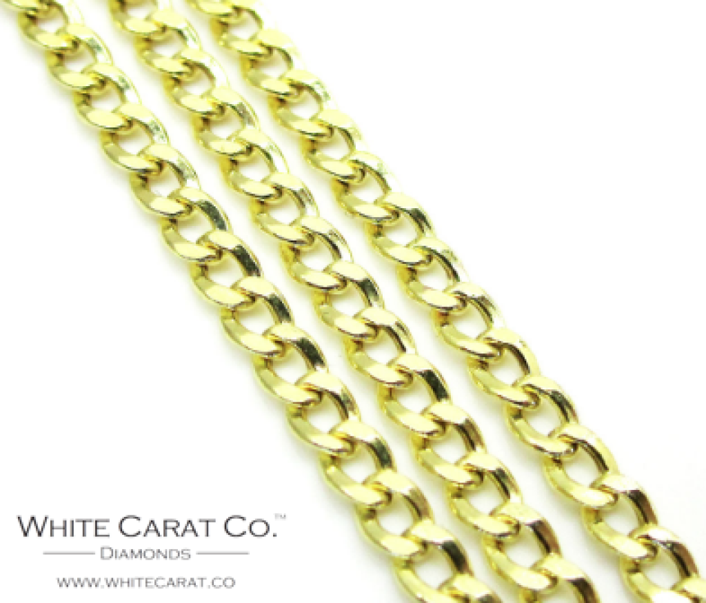 10K Gold Curb/Cuban Link Chain - 3mm - White Carat Diamonds
