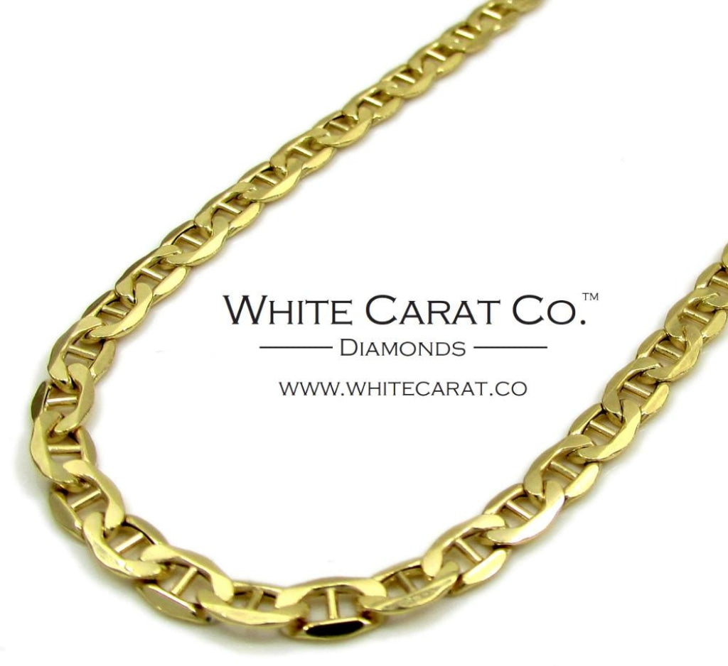 10K Gold Puffed Mariner Link Chain - 3.5 mm - White Carat Diamonds