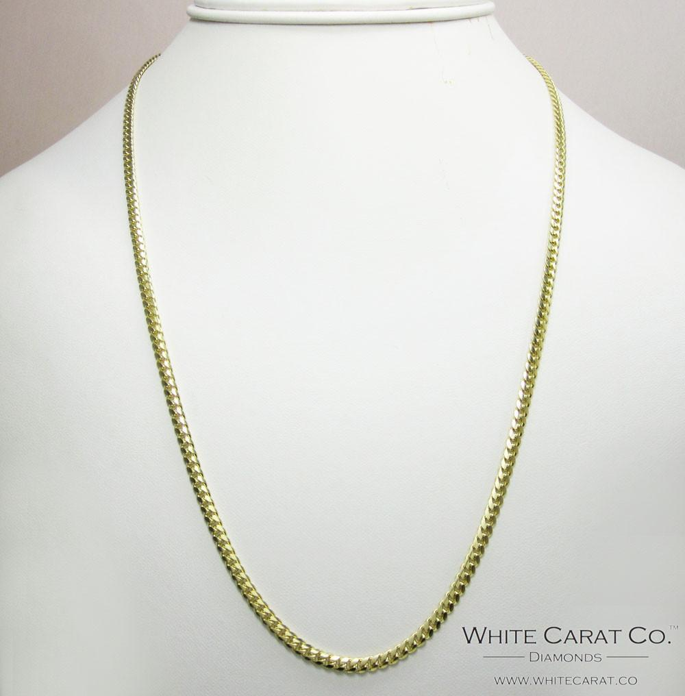 14K Solid Gold Miami Cuban Chain - 4mm - White Carat Diamonds